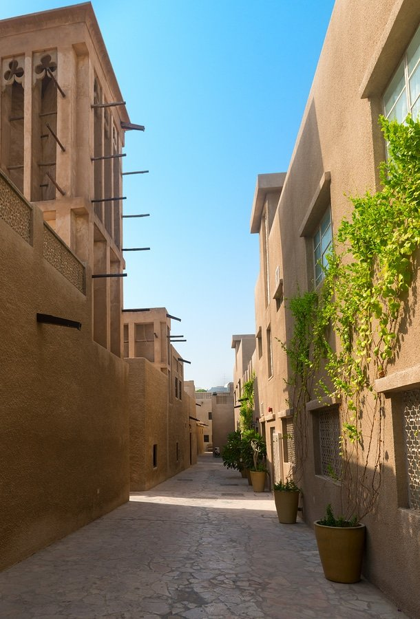 Tiny alleyways and wind towers in the old merchant quarter of Bastakiya in Dubai