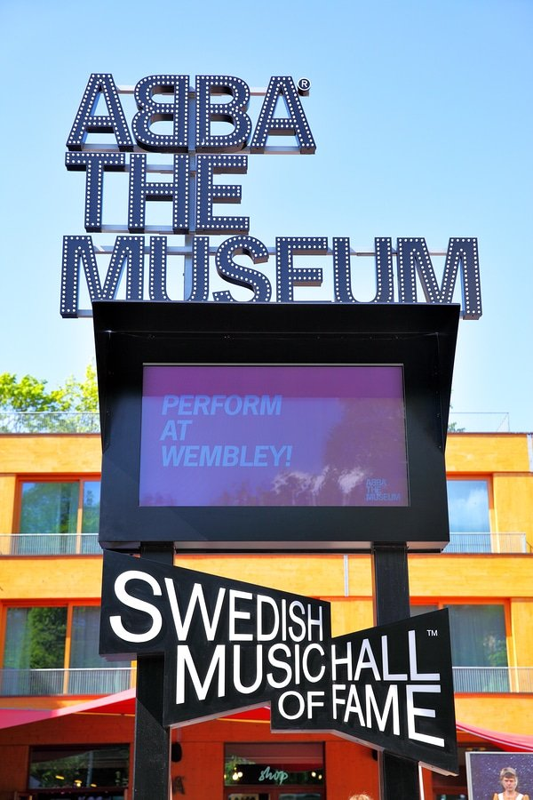 View of sign of the ABBA Museum in Stockholm