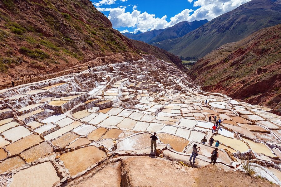 Salineras de Maras is a salt mine near Cusco, Peru