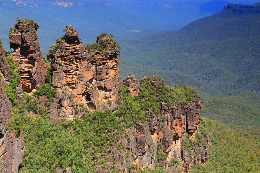 Three sisters rock formation in Blue Mountains near Sydney, Australia