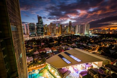 View Of The Skyline Of Makati At Sunset, In Metro Manila, The Ph