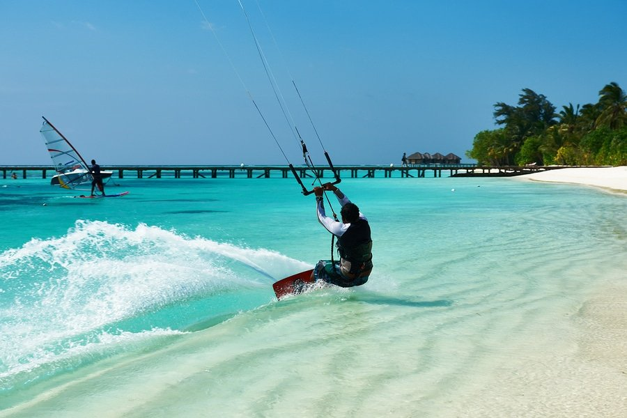 Have you ever thought of trying kite-surfing? The Maldives might be the perfect place for beginners
