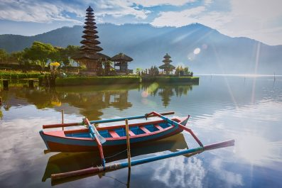 Pura Ulun Danu Bratan Hindu temple on Lake Bratan , Bali, Indonesia