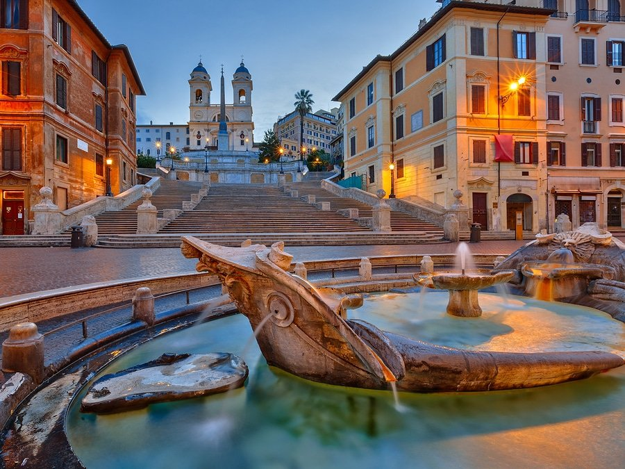 The Spanish Steps at dusk in Rome, Italy