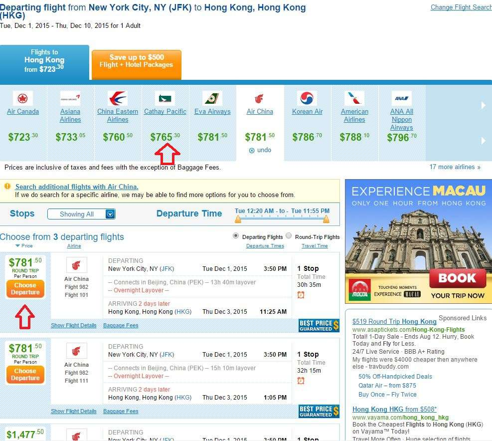 Priceline flight results