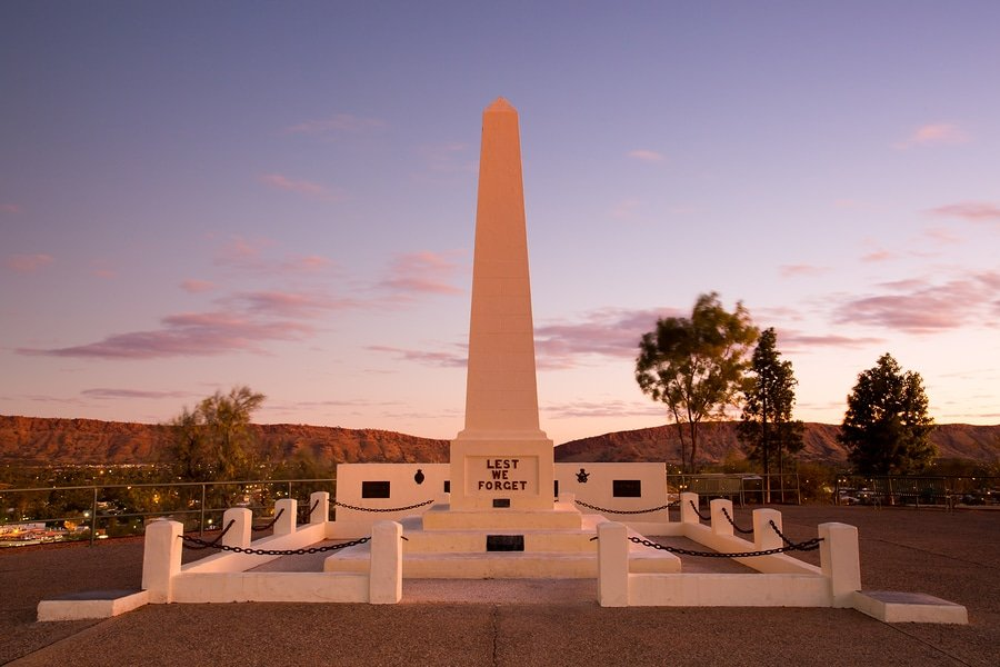View of Anzac Hill memorial on a clear winter's evening in Alice Springs, Northern Territory, Australia
