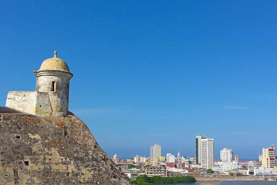 Old town wall in Cartagena, Colombia