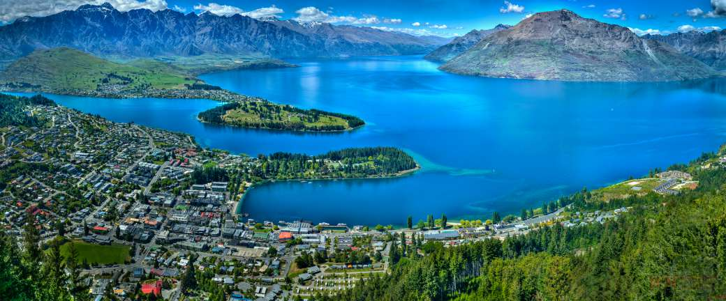 panoramic view of Queenstown Bay, New Zealand