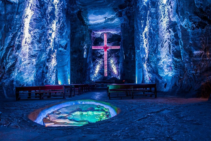 Marble and salt sculptures at underground Salt Cathedral Zipaquira built within the multicolored tunnels from a mine. One impresive accomplishment of Colombian architecture