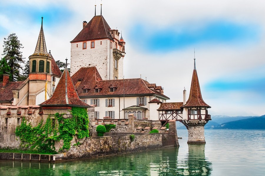 Beautiful view of Oberhofen castle in Switzerland