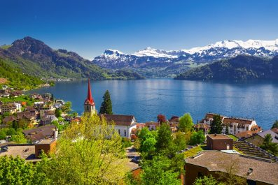 Panorama Image Of Village Weggis, Lake Lucerne (vierwaldstaterse