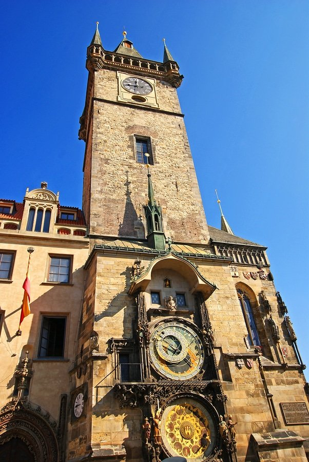 Tower of Old Town Hall on Old Town Square of Prague, astronomical clock and famous landmark sightseen for most tourists visiting capital of Czech Republic