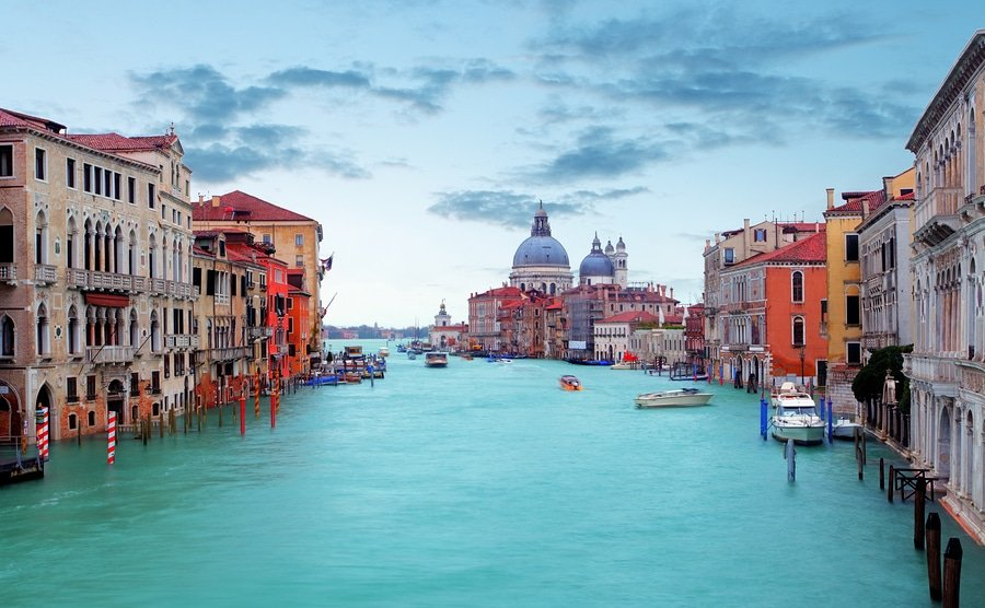 Canal Grande With Basilica Di Santa Maria Della Salute In Venice. The Canal Grande is the main transportation canal in Venice.