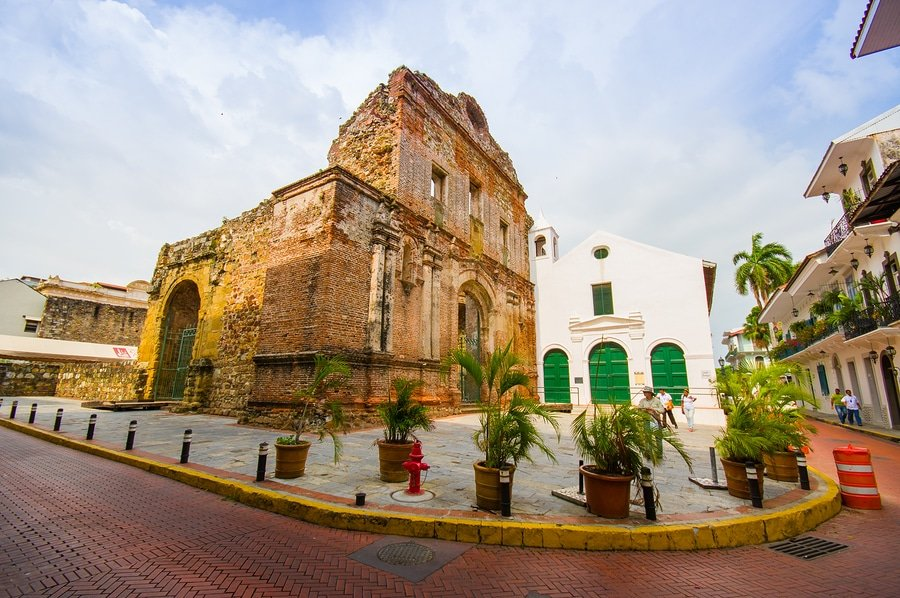 Street view of the recentry restaurated historic quarter of Panama City known as Casco Viejo.