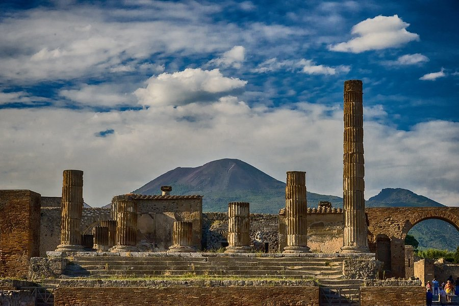 View of the Pompei ruins and Vesuvius volcano in background