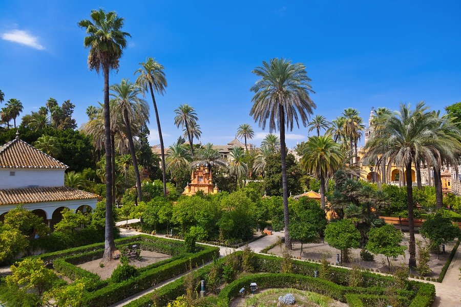 Real Alcazar Gardens in Seville, Spain
