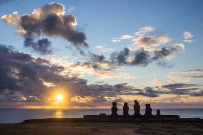 Easter Island statues at sundown