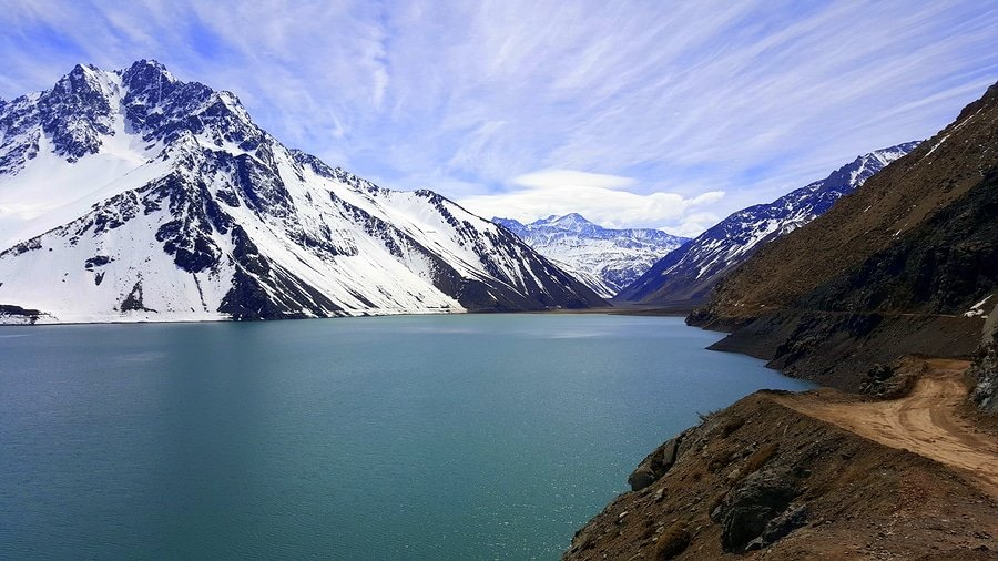 El Yeso Dam in the spring. The lake is located in the Chilean Andes in the area of Cajon del Maipo
