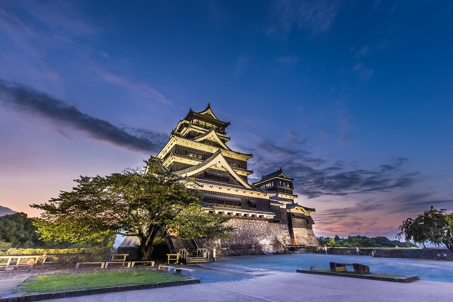 Beautiful Sunset At Kumamoto Castle In Kyushu, Japan.