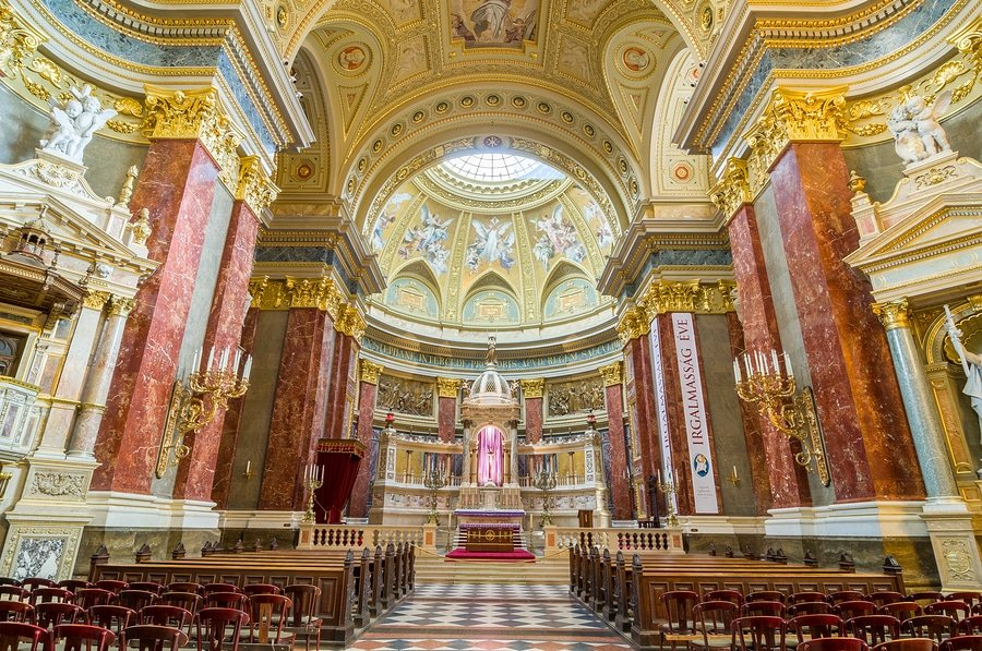 "This is the inside of the beautiful St. Stephen's Basilica in Budapest, located in the ""pest"" district of the city"