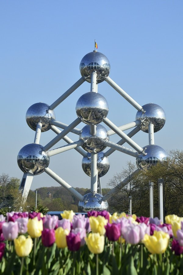 Atomium, Brussels. Designed by the engineer André Waterkeyn and architects André and Jean Polak, it stands 102 m (335 feet) tall