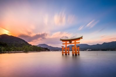 Miyajima, Hiroshima, Japan at the great gate of Itsukushima shrine - 48 hours in Hiroshima