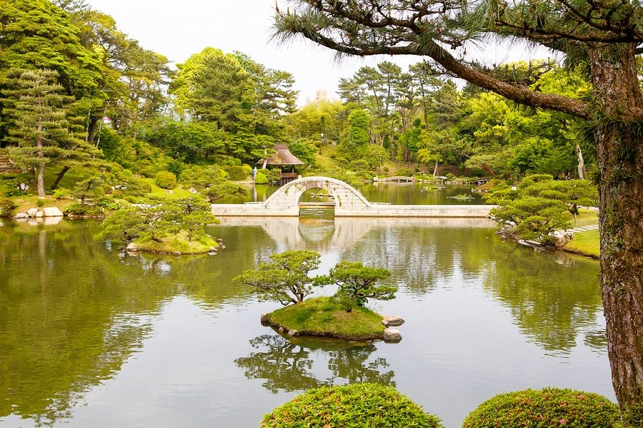 Japanese Style Garden In Hiroshima, Japan