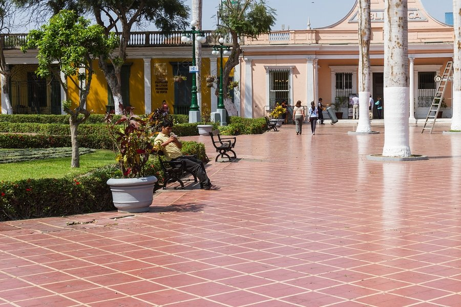 Barrancos' library in the town square of the Barranco District of Lima Peru. Barranco is Lima's most picturesque neighborhood