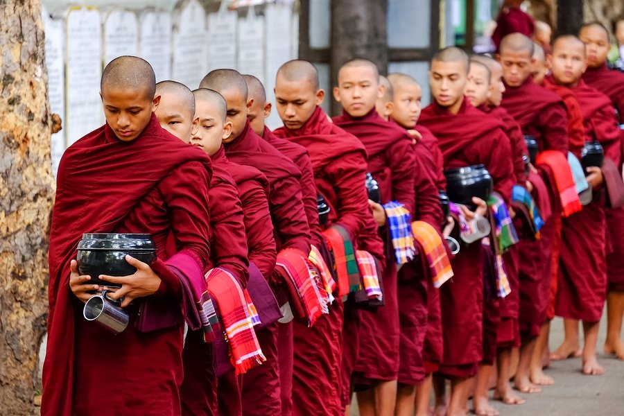Monks at Mahagandayon Monastery, Amarapura, Myanmar