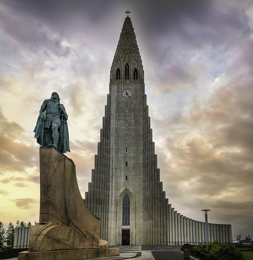 The Hallgrimskirkja and Leif Ericsson statue in Reykjavik, Iceland. Hallgrímskirkja (Icelandic pronunciation: [ˈhatlkrimsˌcʰɪrca], church of Hallgrímur) is a Lutheran (Church of Iceland) parish church in Reykjavík, Iceland. At 73 metres (244 ft), it is the largest church in Iceland and the sixth tallest architectural structure in Iceland