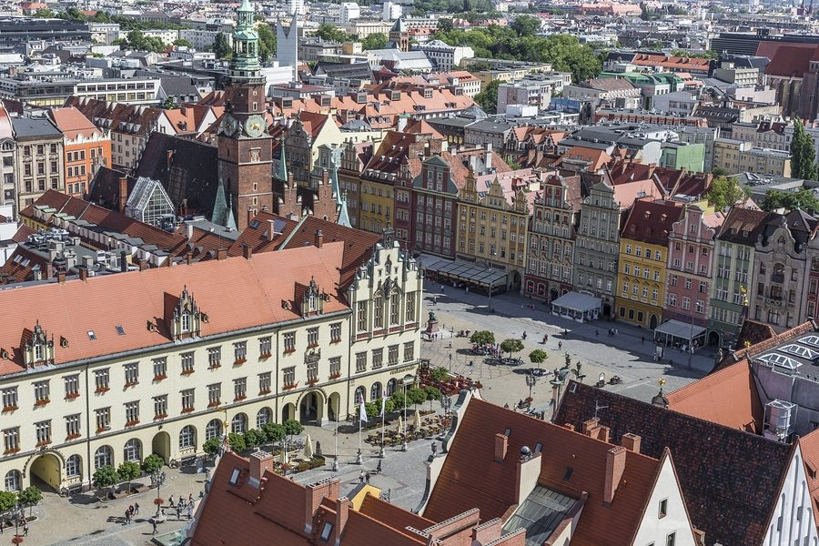 View of the Old Town architecture in Wroclaw Poland