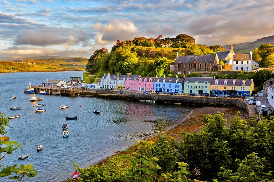 Portree is the largest town on Skye in the Inner Hebrides of Scotland. It is the location for the only secondary school on the Island, Portree High school. Public transport services are limited to buses