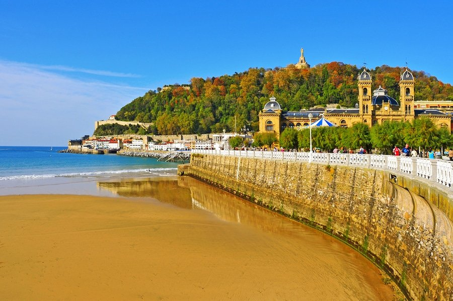 La Concha Beach  in San Sebastian, Spain. With an average length of 1,350 meters, it is one of the most famous urban beaches across the country