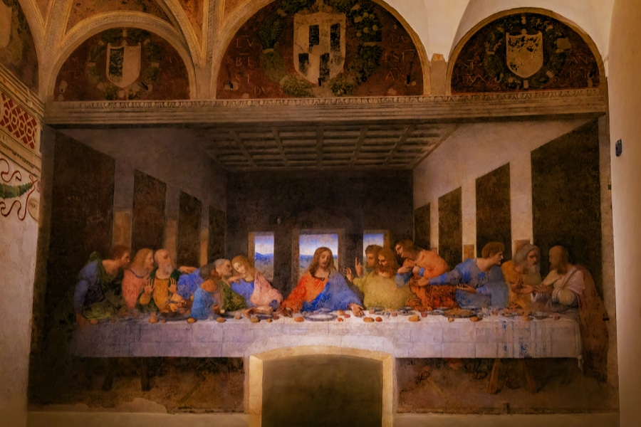 The Last Supper measures 460 cm × 880 cm (180 in × 350 in) and covers an end wall of the dining hall at the monastery of Santa Maria delle Grazie in Milan