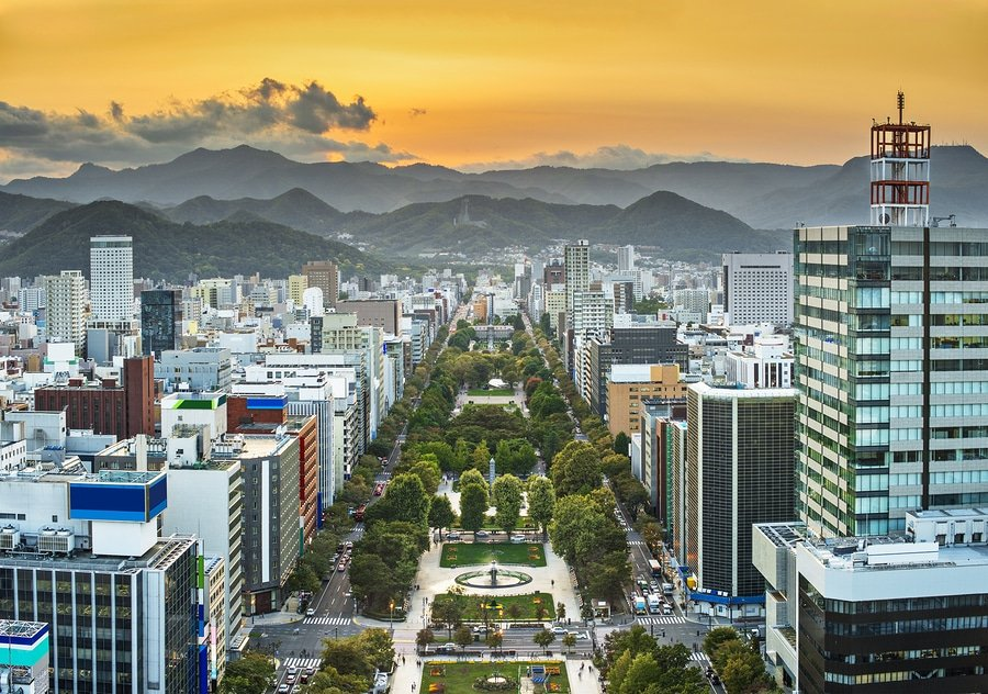 Cityscape of Sapporo, Japan at Odori Park