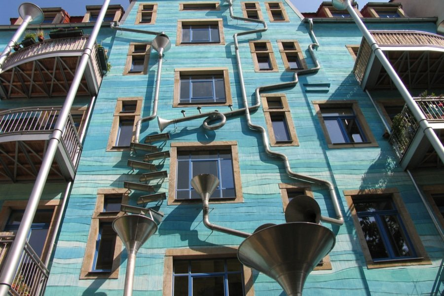 The Courtyard of the Elements and the Singing Drain Pipes, Dresden, Germany