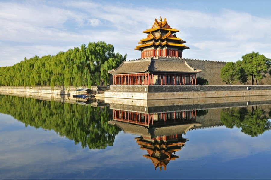 A watchtower at the Forbidden City, Beijing, China