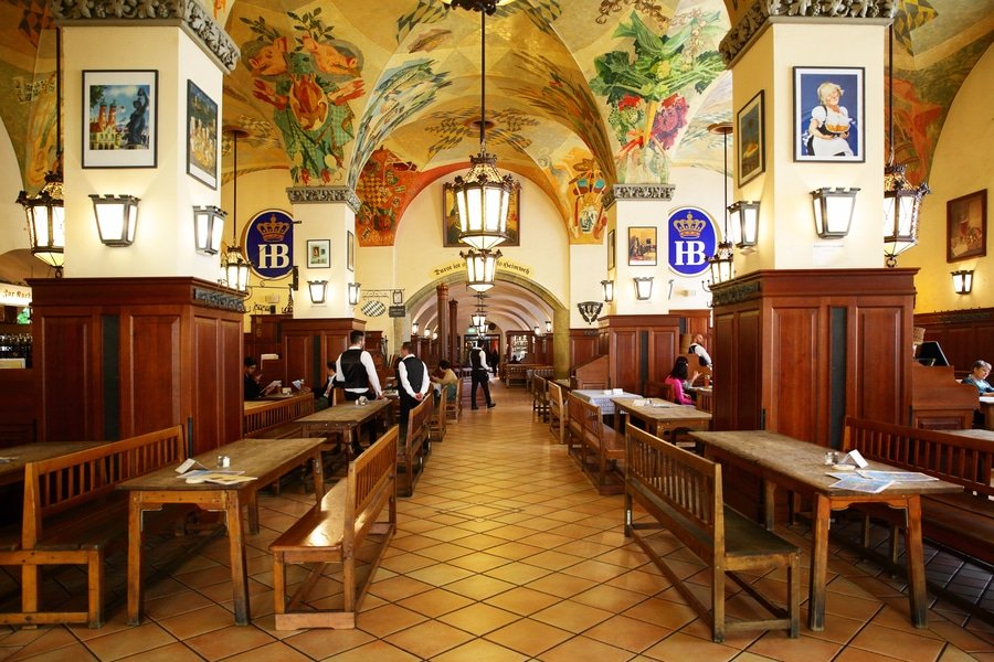 Interior of Hofbraeuhaus beer house, Munich, Germany