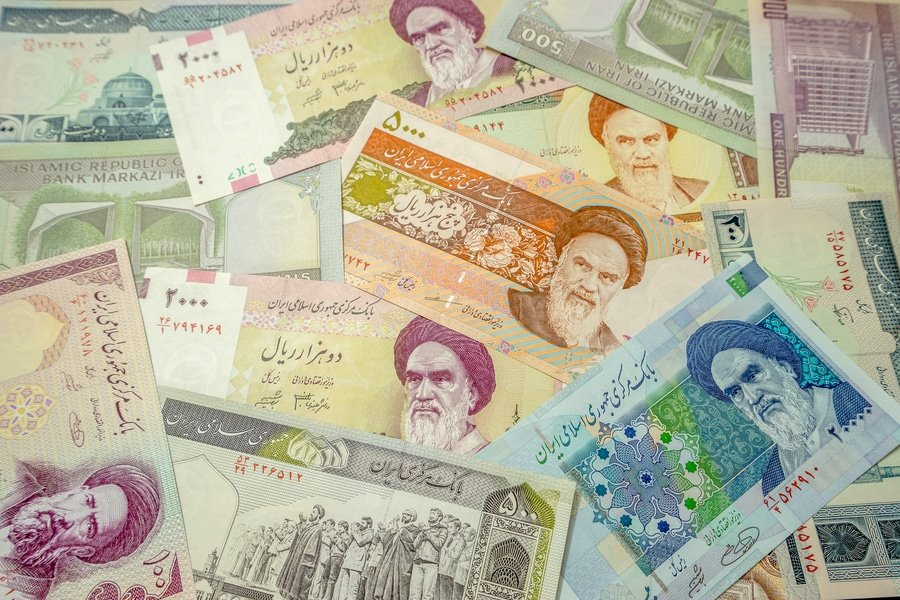 Iranian Rial currency bills
