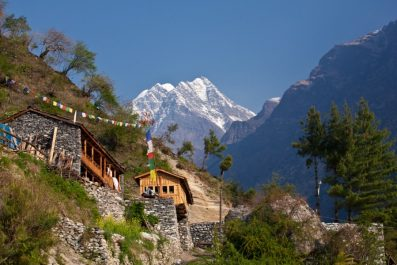 Nepal - hiking path through mountain village