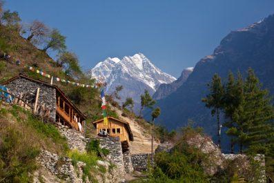 Nepal - hiking path through mountain village