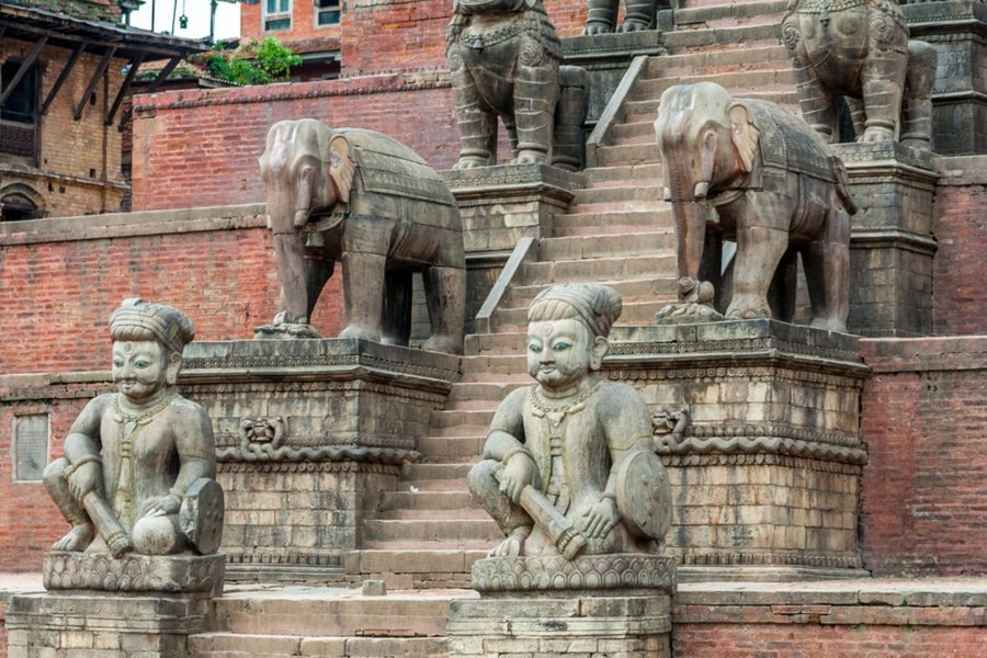 Nyatapola Temple stone steps, Kathmandu, Nepal