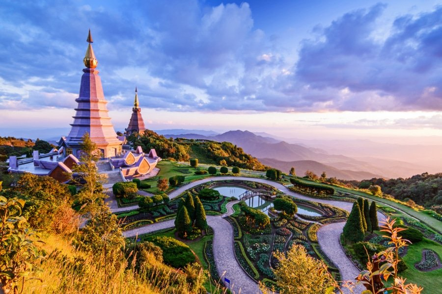 Pagodas in the Inthanon mountain, Chiang Mai, Thailand
