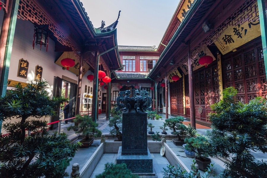 courtyard of the Jade Buddha Temple, Shanghai, China