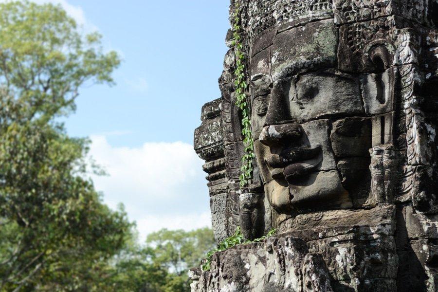 Statue at Bayon Temple, Angkor Thom, Siem Reap, Cambodia