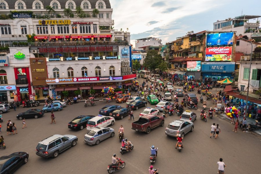 traffic jam at Hanoi old quarter, Vietnam