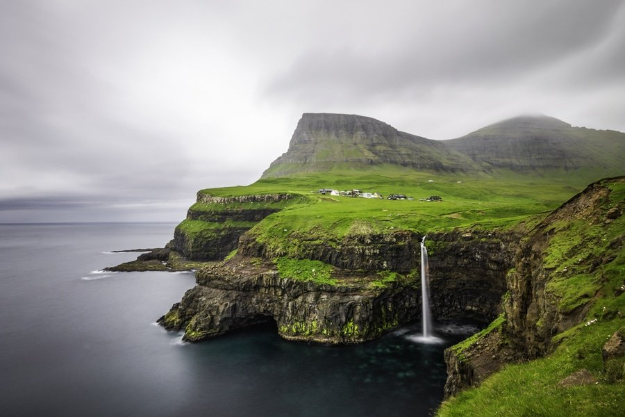 Gásadalur village waterfall, Faroe Islands