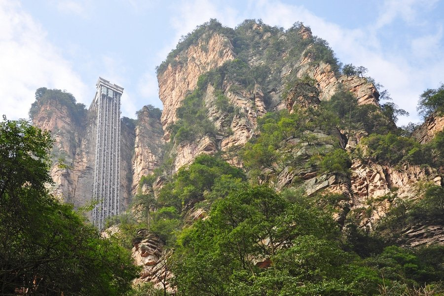 Hundred Dragon Elevator, also known as Bailong Elevator in Zhangjiajie, China
