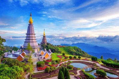 Landmark pagoda in doi Inthanon national park at Chiang mai, Thailand