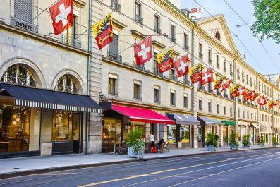 View of a street in Geneva, Switzerland